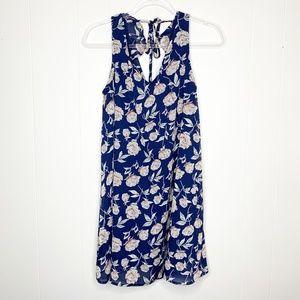 Entro Blue Floral Print Keyhole Tank Dress S